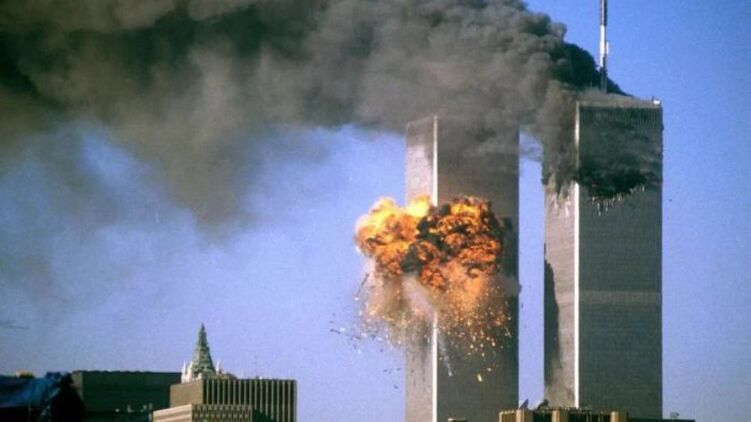 Башни ВТЦ 9 сентября 2001 года. Кадр из видео
